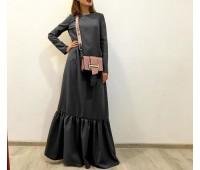 """Платье """"Марго"""" макси из утепленного трикотажа графит"""