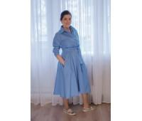 "Платье ""Алина"" голубое миди"